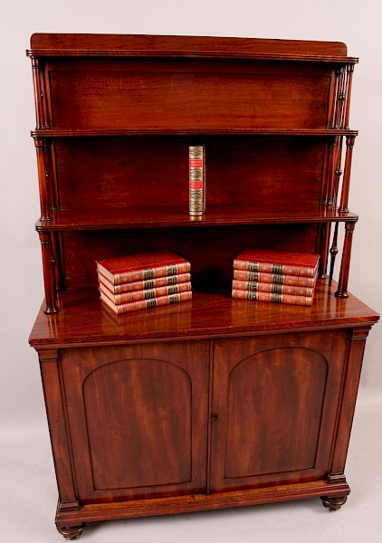 Fine Early Victorian Waterfall Bookcase Cabinet