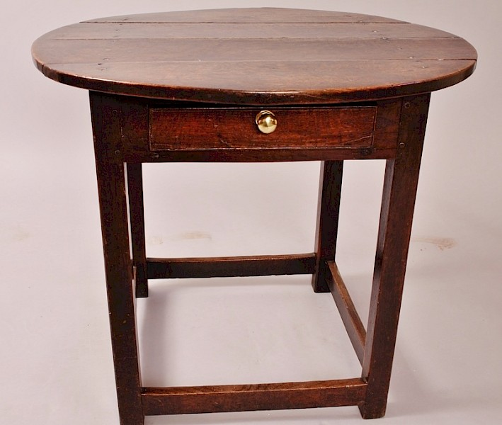 Georgian Oak Tavern Table with Drawer
