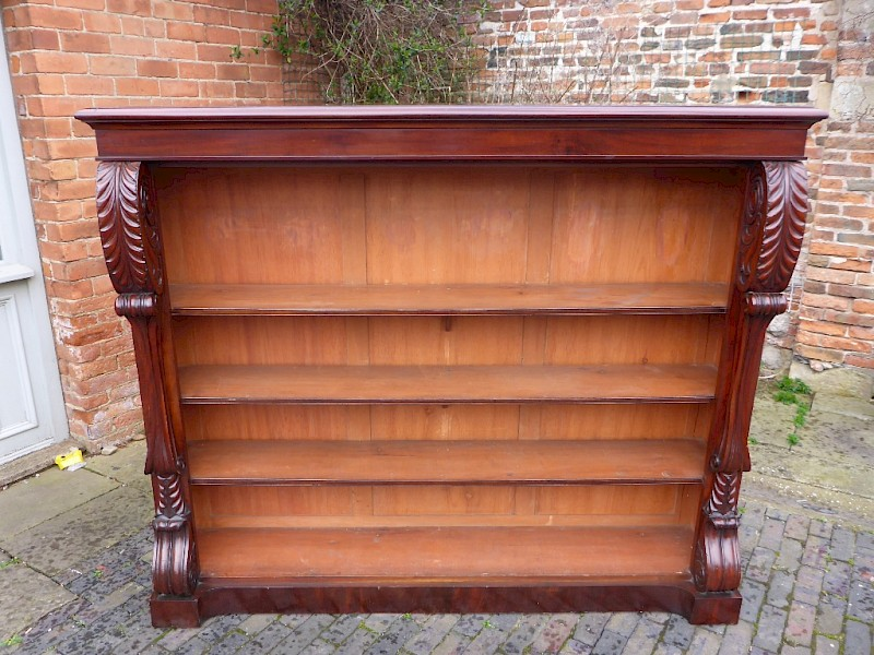 Large William IV Open Bookcase Mahogany