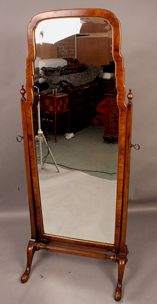 A good quality Cheval Mirror in Walnut