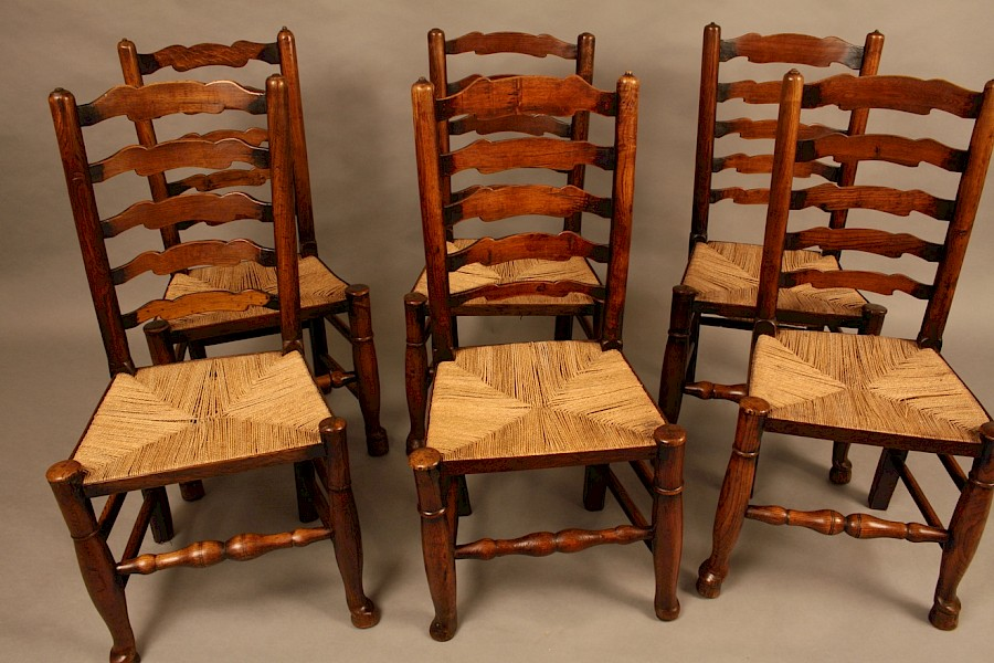 A Harlequin set of Six 19th century Ladder Back Chairs