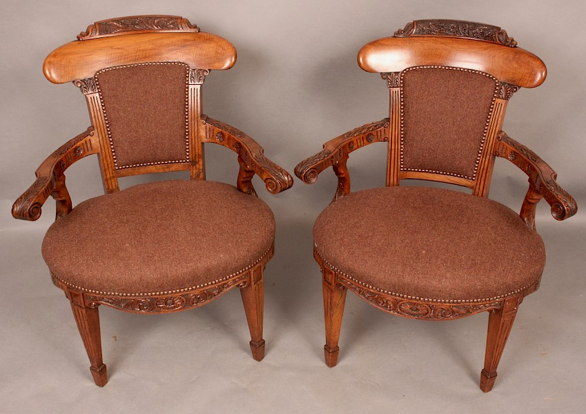 Fine Pair of Victorian Library Armchairs