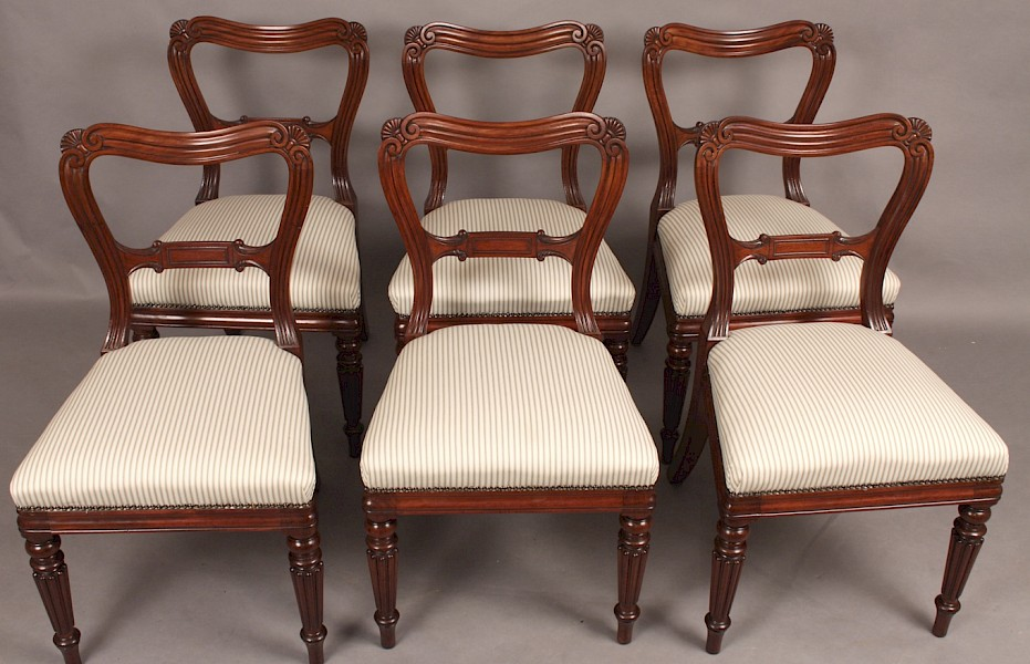 "Superb Set of Six Mahogany Dining Chairs"" Gillows"""