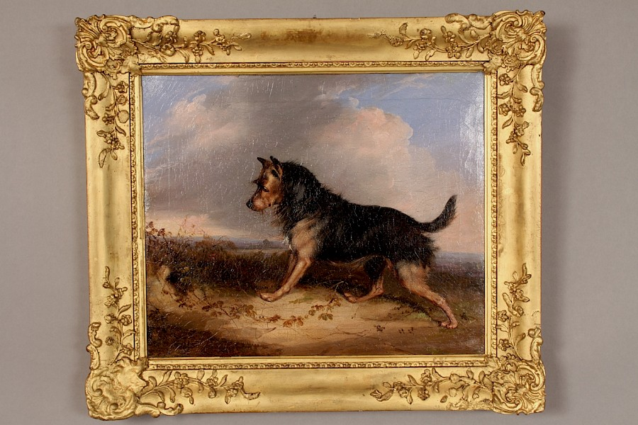 Oil on Canvas Terrier Dog