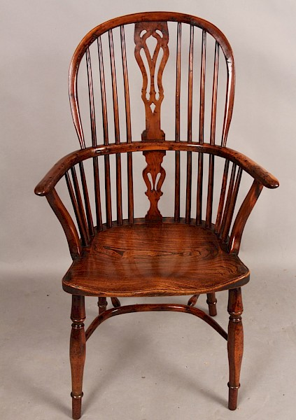 Fine Yew Wood High Windsor Armchair Retford Maker