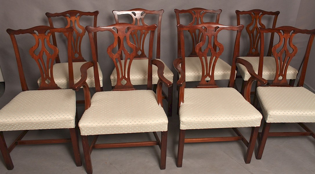 Good set of 8 Victorian dining chairs Chippendale Style