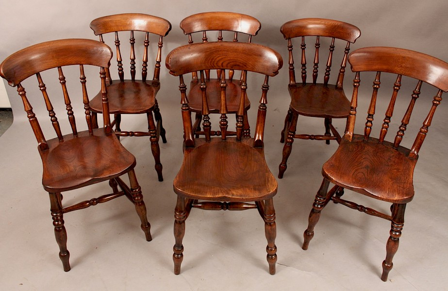 A Rare Harlequin Set of 6 Worksop Roman Kitchen Chairs