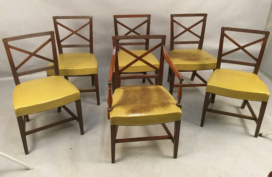 Set of Six Georgian Dining Chairs in Mahogany