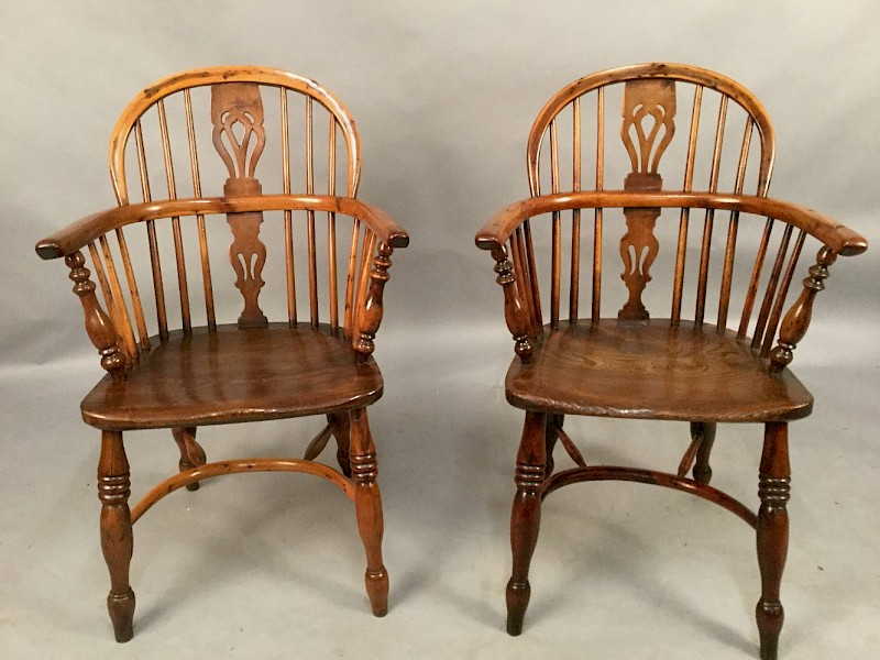 Pair of Yew Wood Windsor Chairs ROCKLEY
