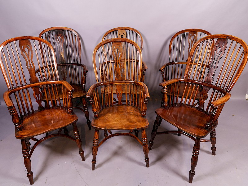 A Near Matching Set of 6 Yew Tree Windsor Chairs High back
