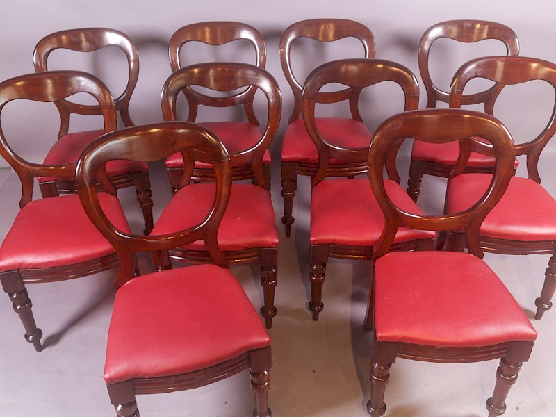 Set of 10 Victorian Mahogany Balloon Back Dining Chairs c 1860