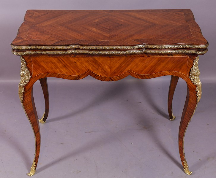 Quality French Kingwood Card Table c 1890