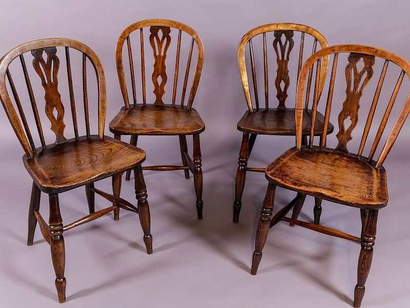 Rare Set of 4 Windsor Kitchen Chairs