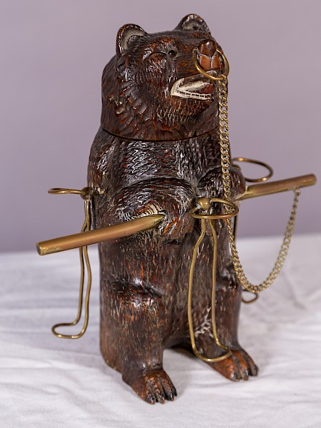 A Rare Black Forest Bear Pipe Stand