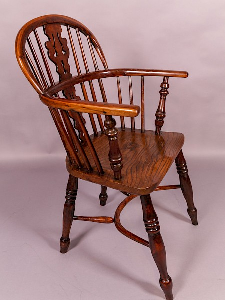Yew Wood Windsor Chair by Benjamin Gilling of Worksop