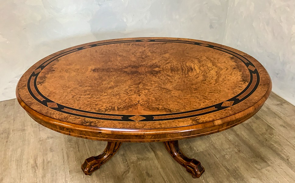 Victorian Burr walnut coffee Table oval in shape