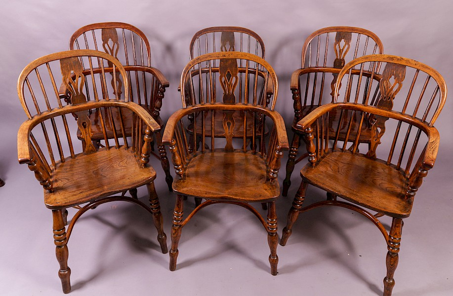 A Matching Set of 6 Low Windsor Chairs Ash and Elm