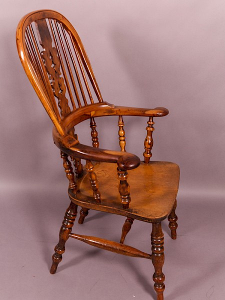 Yew Wood Broad Arm Windsor Armchair Worksop maker