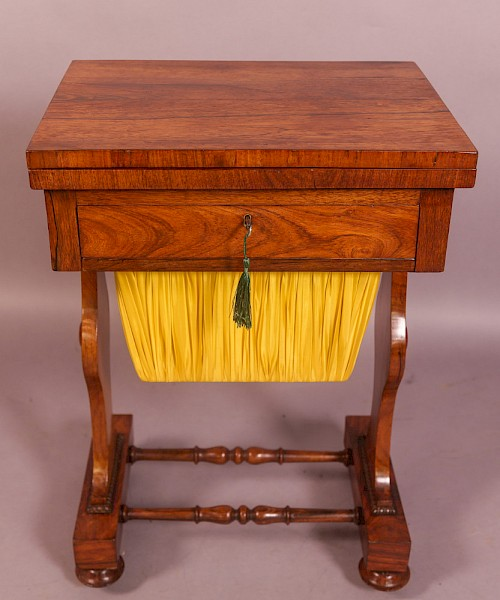 Rosewood Early Victorian Sewing/Games Table