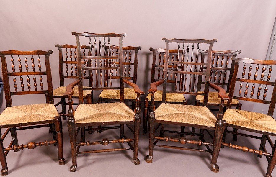 A Harlequin set of 8 Spindle back country chairs