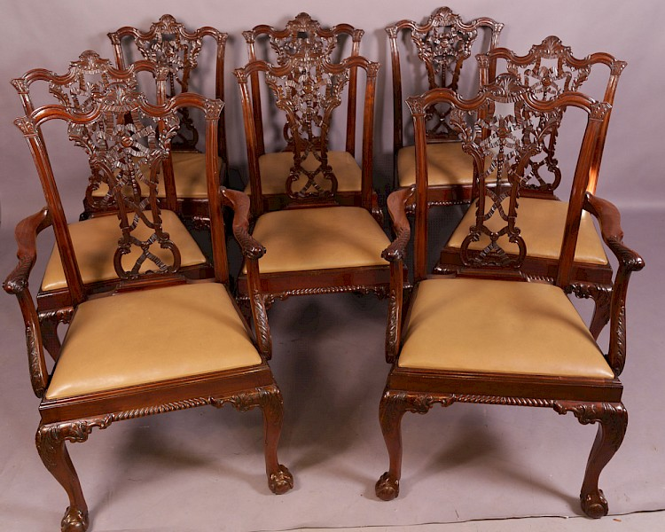 Superb Set of 8 Chippendale Dining Chairs Victorian