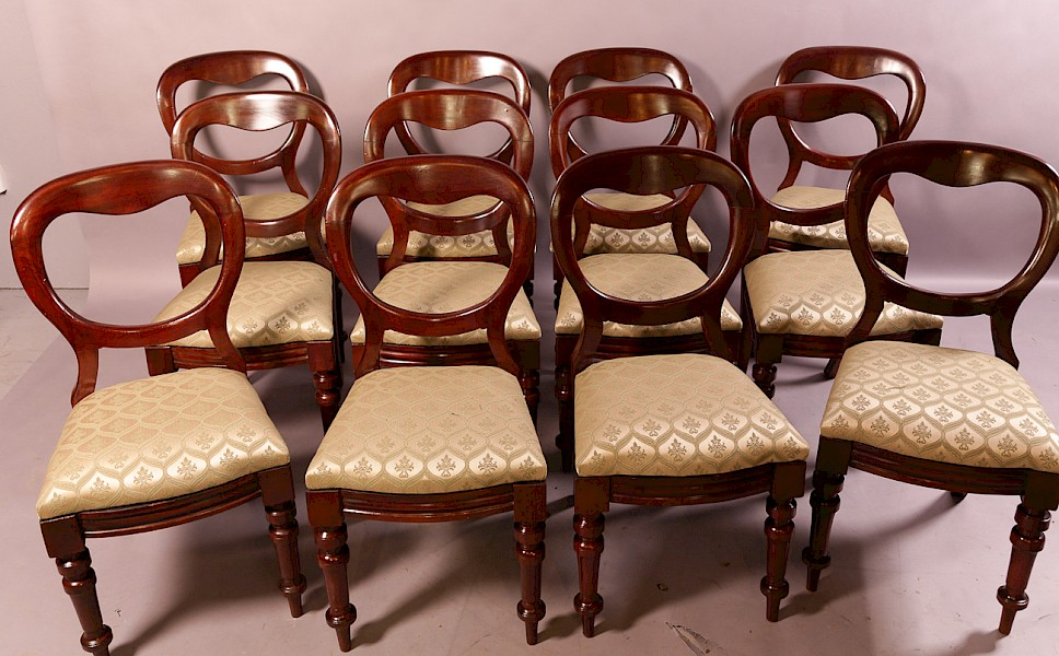 A Set of 12 Victorian Mahogany Balloon Back Dining Chairs