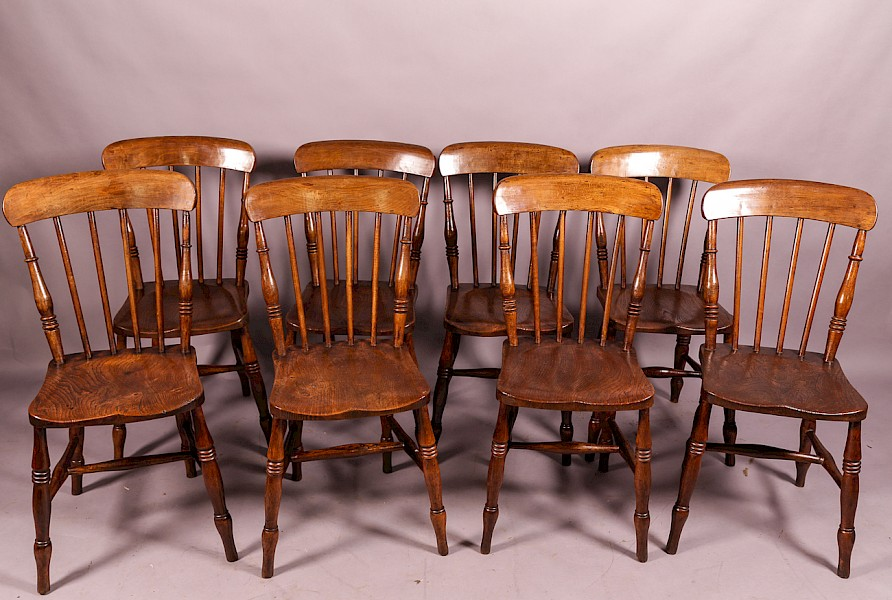 A Set of 6 19th century Ash and Elm Kitchen Chairs