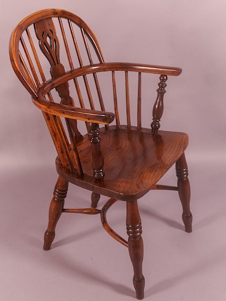 A Yew Wood Low Windsor Chair Rockley Maker