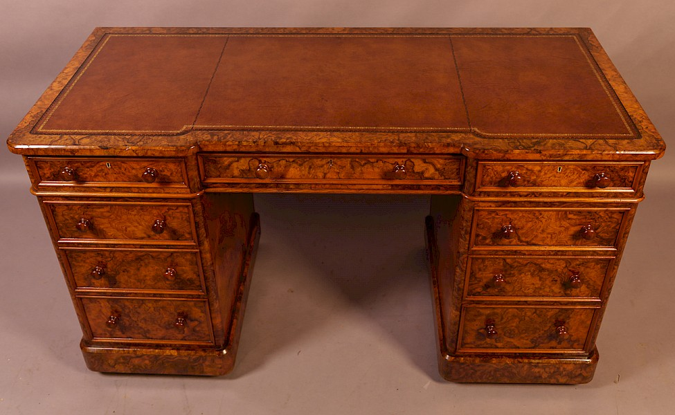 Victorian Burr Walnut Pedestal Desk Heals London
