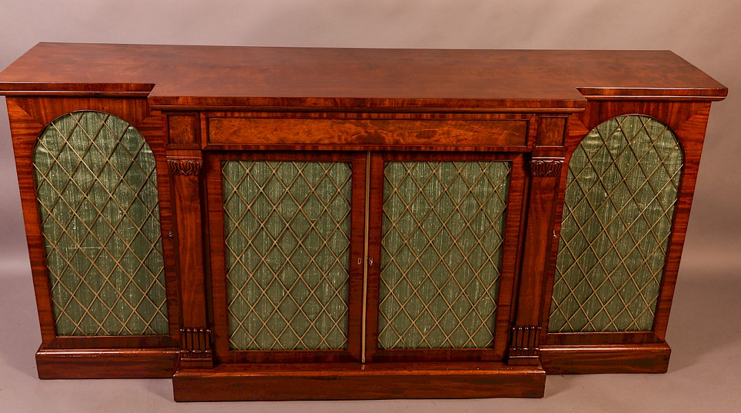 19th century 4 door breakfront pier cabinet brass grills silk