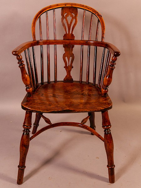 Yew Wood Low Windsor Chair Rockley Maker