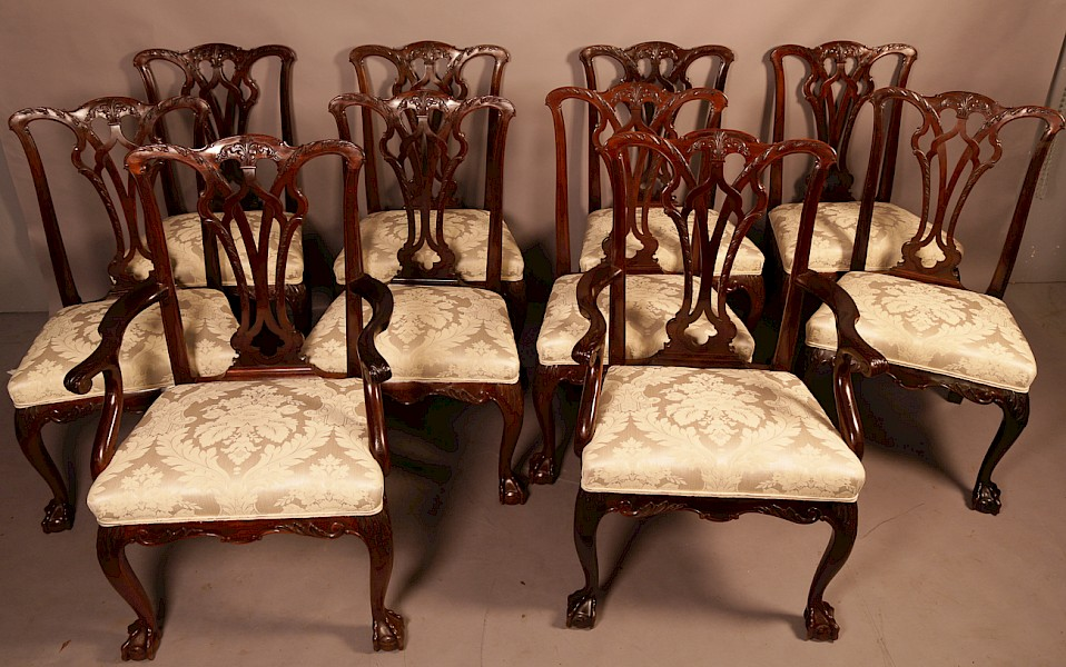 A Rare set of 10 Chippendale Style Dining Chairs Victorian