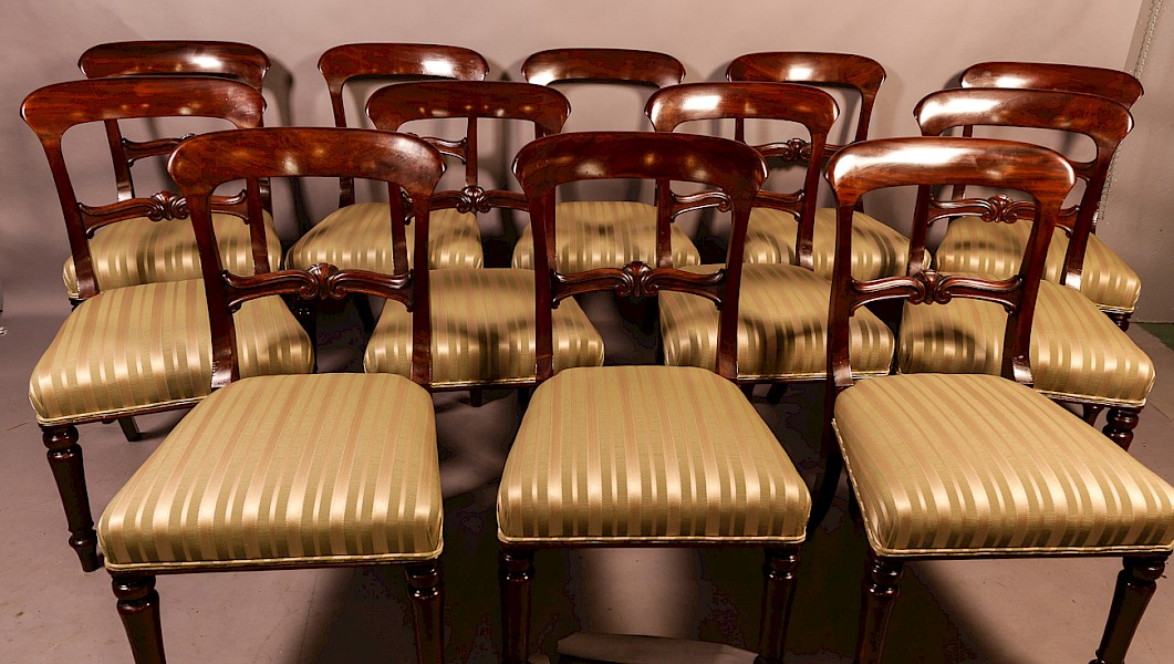 Rare Set of 12 Victorian Mahogany Dining Chairs