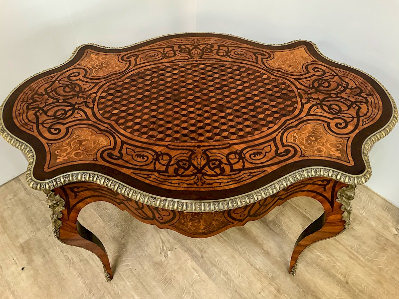 Stunning Quality French Bureau Plat King Wood- Marquetry