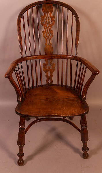 A Rare Yew Wood Windsor Chair by William Wheatland Retford