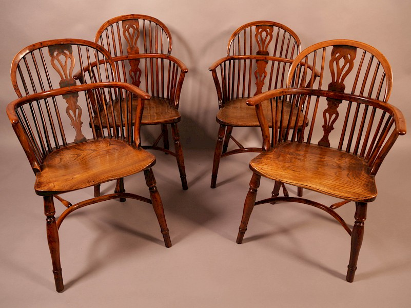 A Rare set of 4 Yew Wood Windsor Chairs Wheatland Retford
