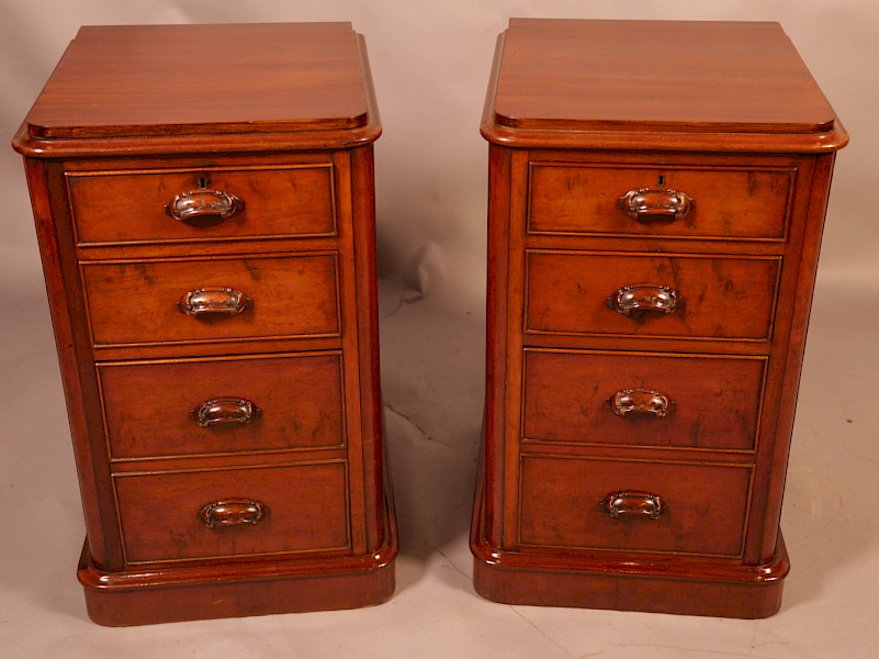 A Pair of Mahogany Bedside Chests Victorian