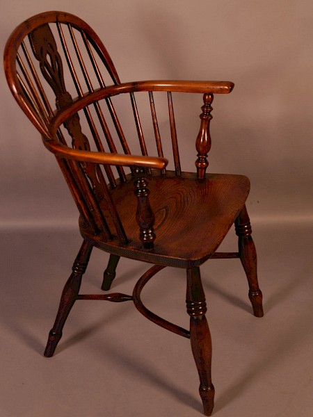 A Yew Wood Low Windsor Chair Rockley Maker c 1840