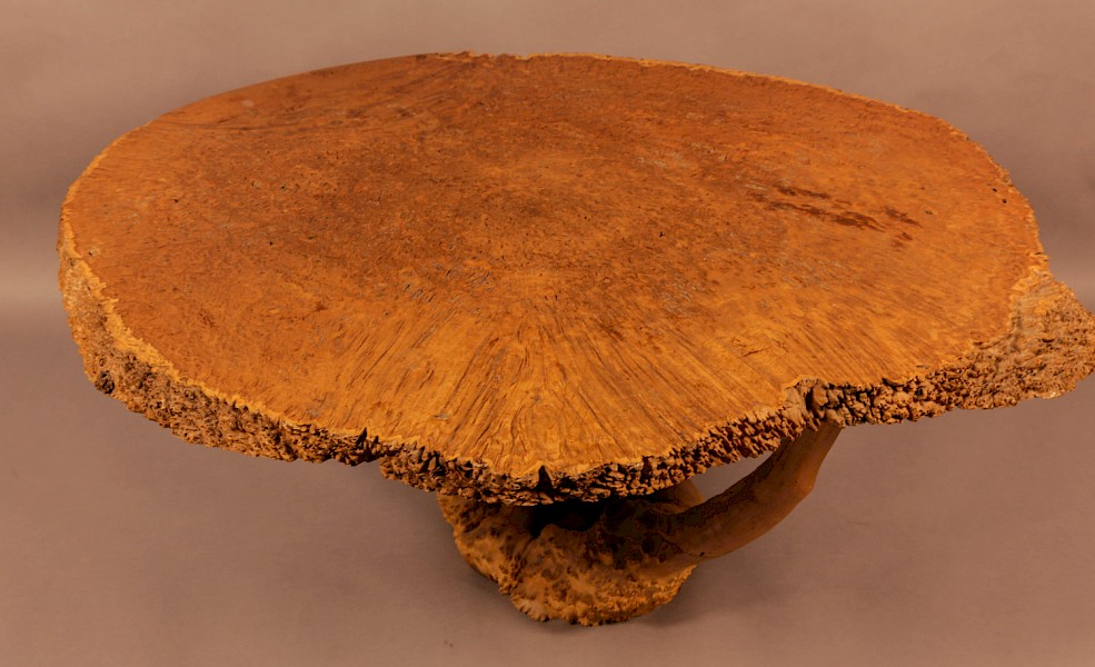 Very Unusual Coffee Table Amboyner Wood Tree Trunk