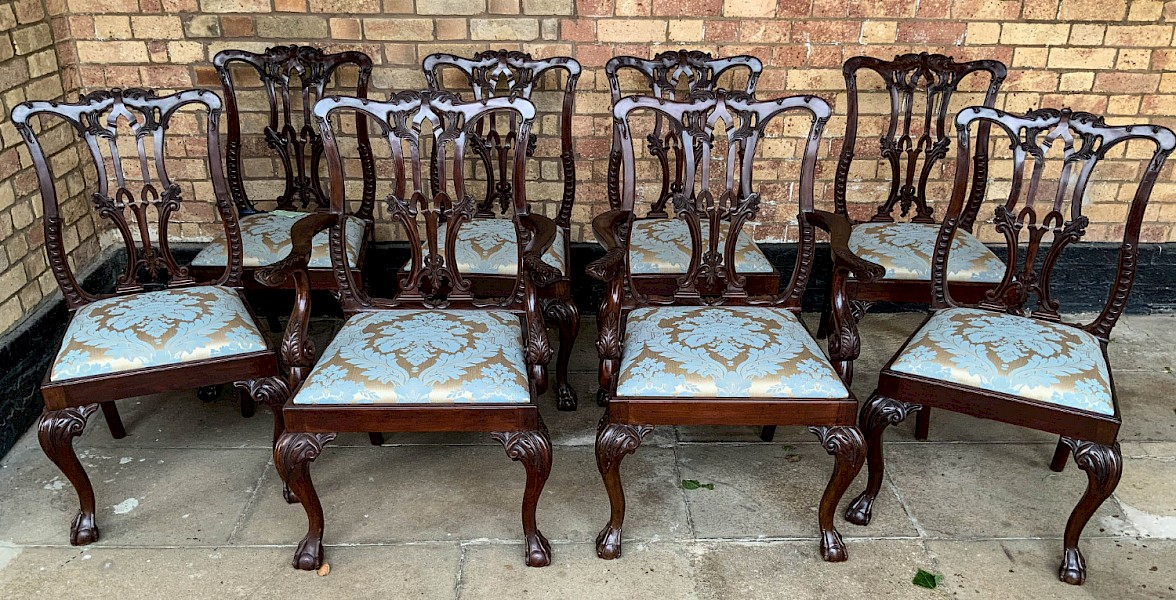 A Quality Set of 8 Chippendale style Dining Chairs Victorian