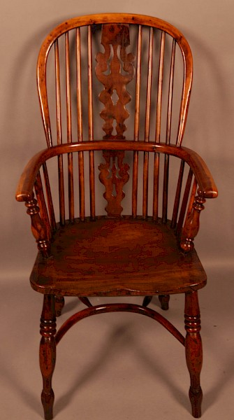 A Yew Wood High Windsor Chair Benjamin Gilling