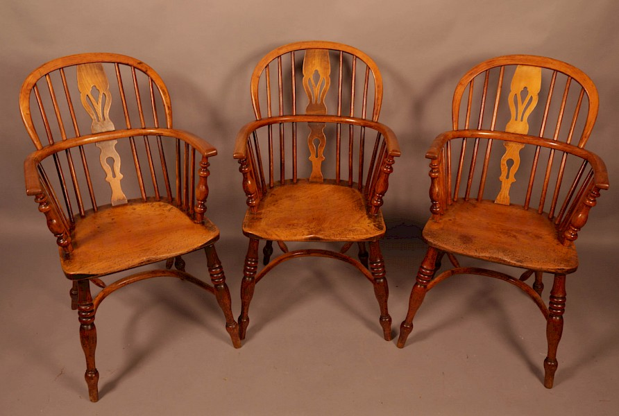 A Set of 3 low Back Windsor Chairs