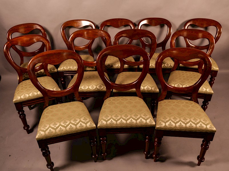 A Quality Set of 12 Victorian Balloon Back Dining Chairs