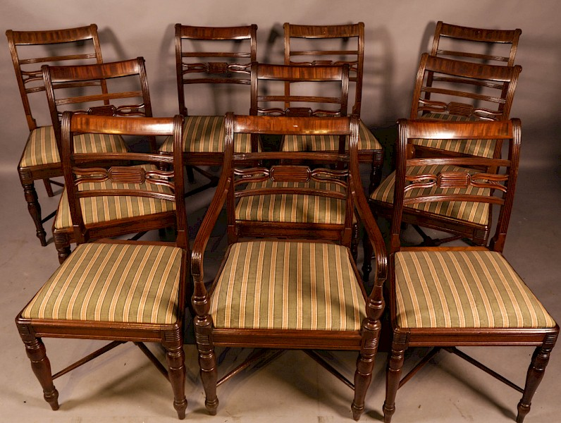 A Rare set of 10 Regency Period Mahogany Dining Chairs