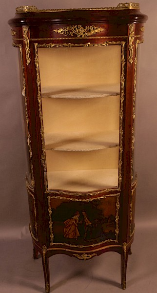 A Good Quality French Serpentine Front Display Cabinet
